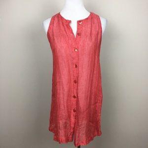 Eileen Fisher linen button up tunic